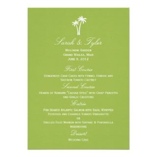 Palm Trees Wedding Menu Card   Lime Custom Invitation