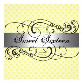 Yellow Polka Dot Sweet 16 Birthday Invitation