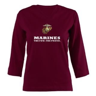 Marines white   Eagle Globe Anchor Womens Long Sleeve Shirt (3/4