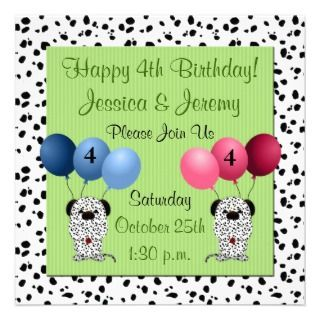 Twins 4th Birthday Party Invitation Green