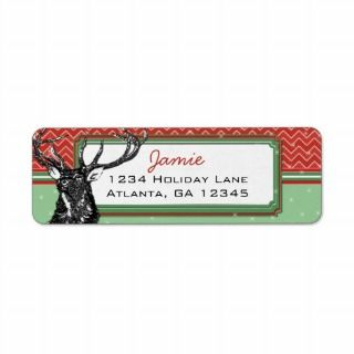 Christmas Buck Deer Zig Zag Pattern Return Address Return Address