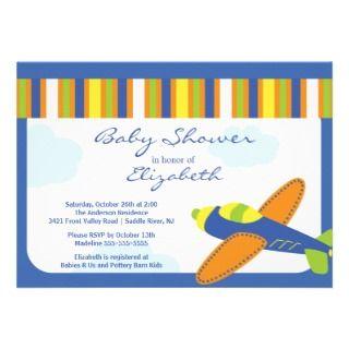 Cute Blue Airplane Boy Baby Shower Invitation