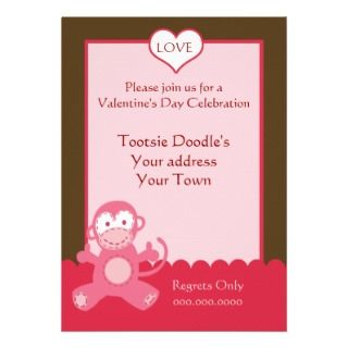 Valentines Day Party Invitation Pink Monkey Heart