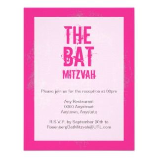 Rock Band Bat Mitzvah Reception Card in Pink Custom Invite