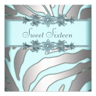 Teal Blue Sweet 16 Birthday Party Custom Invitations