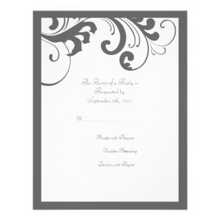 Gray and White Swirls Frame Wedding RSVP Announcement