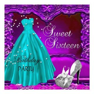 Sweet Sixteen Sweet 16 Birthday Purple Dress Gown Personalized