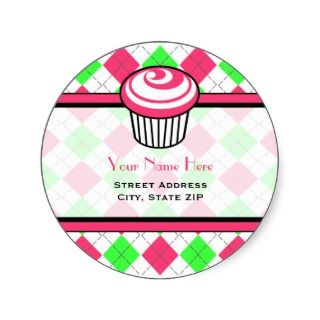 Pink Cupcake Address Label   Pink & Green Argyle Round Stickers