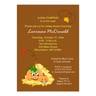 Fall Pumpkin Baby Shower Invitation   Baby Boy