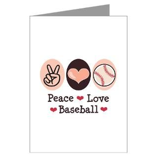 Peace Love Baseball Greeting Cards (Pk of 10) for
