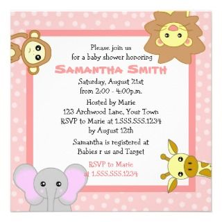 Jungle Animals Pink Baby Shower Invitations invitations by JKLDesigns