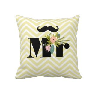 Mrs Bride Peachy Pink Lips Flora and Fauna Pillow