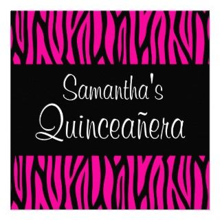 Hot Pink Zebra Modern Quinceanera Invitations