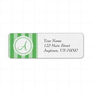 Candy Striper Monogram Address Labels (Green)