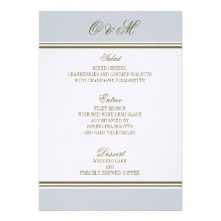 Simple Stripe French Blue Wedding Menu Invite