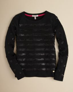 Juicy Couture Girls Sequin Stripe Top   Sizes 6 14