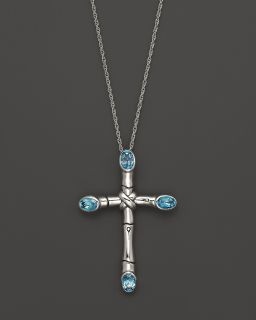 Bamboo Silver Batu Cross Pendant Necklace with Swiss Blue Topaz, 20