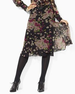 Lauren Ralph Lauren Magdalena Silk Crinkle Floral Print Skirt