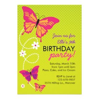 Butterflies Birthday Party Invitations