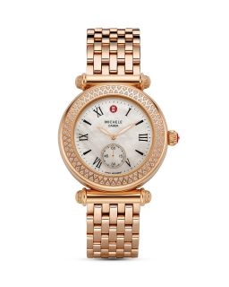 Michele Caber Diamond Rose Gold Bracelet Watch, 46mm X 37mm