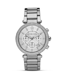 Michael Kors Parker Silver and Crystal Watch, 39mm