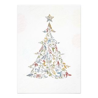 whimsical doodles christmas tree custom invites