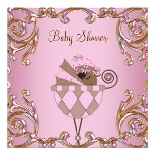 invitation pink brown baby shower invitations african american baby