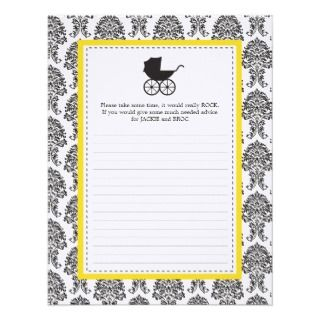 Damask Baby Carriage Baby Shower Advice Card Invite