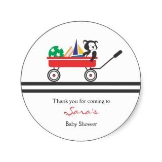 Thank you  Little Red Wagon Baby Shower Sticker