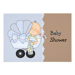 Blue Baby Carriage Shower Invitation
