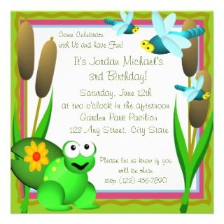 Dragonfly and Frog/ Birthday Custom Invite