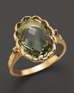 14K Yellow Gold Genuine Briolette Cut Green Amethyst Ring
