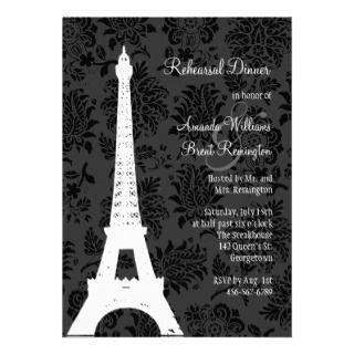Damask Paris Rehearsal Dinner (black) Cusom Announcemen
