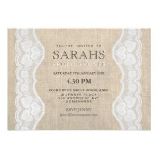 White Lace & Burlap Bridal Shower Party Invite
