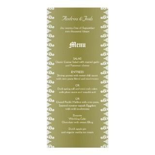 Seaside Garden Tall Custom Tropical Wedding Menu Personalized Invites
