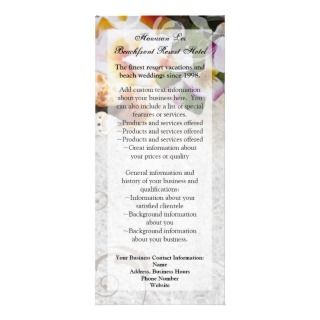 Plumeria Orchid Lei in Sand Rack Card / Menu