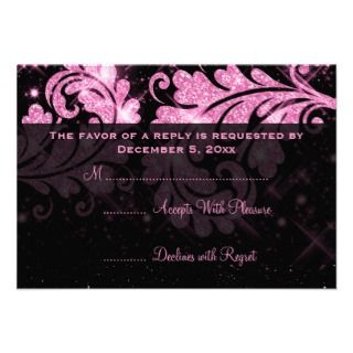 Elegant Wedding RSVP Pink Floral Glitter Swirl Custom Announcements