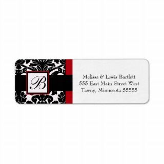 Black and Red Damask Monogram Return Address Label