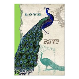 Vintage Peacock 5   Formal Wedding Invitation
