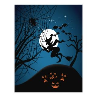 spooky halloween night witch and spiders vector custom flyer