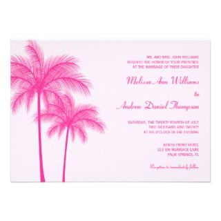 Hot Pink Palm Tree Tropical Wedding Custom Announcement