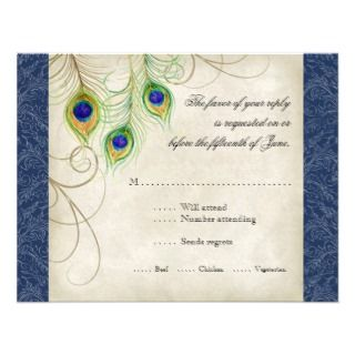 Peacock Feathers Royal Blue Wedding Invitation
