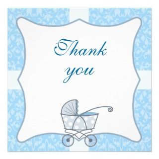 cute boy baby shower thank you card personalized announcement