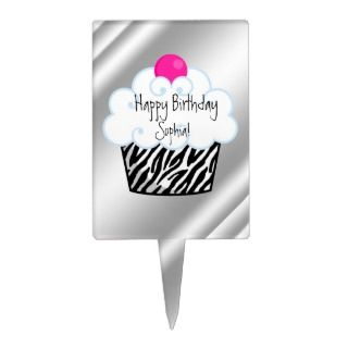 Hot Pink Zebra Birthday Cake Topper