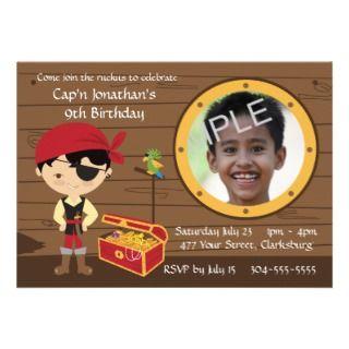 Pirate Skull Birthday Photo Template Invitations