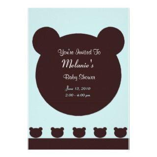 Brown Bear on Blue green Background Baby Shower Personalized