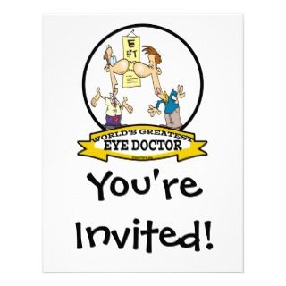 WORLDS GREATEST EYE DOCTOR MEN CARTOON INVITATION