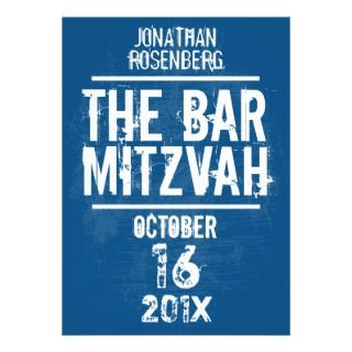 Bar Mitzvah Invitation All Type in Blue invitations by Lowschmaltz