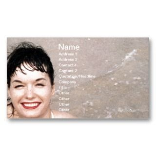 Bettie Page Smiling In the Surf on the Beach Business Card Templates