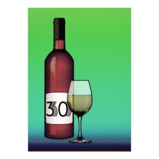 30th birthday  wine bottle & glass custom invitation